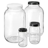 Containers and Packaging Company -- 1 Gallon Jars (no lids) - $2.85, 1/2 Gallon Jars (no lids) - $4.28. Add $.40 to .97 per lid depending on type.