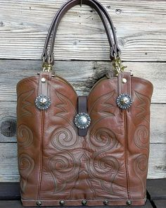 Tan Prairie Leather Tony Lama Boot Top Handbag by tcra466 on Etsy, $265.00