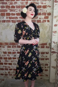 """A Stunning Classic Vintage Style 1945 Wrap Dress with ties around the waist for easy comfortable fitting. Tiny box pleats at the waistband create a beautiful body shape and fit. This dress finishes 2"""" below the knee, and in an authentic natural Rayon Crepe de Chine fabric, easy to care and machine wash too.."""