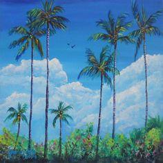 Kauai Coconut Palms Original Acrylic Painting by Marionette from Kauai blue green aqua turquoise teal