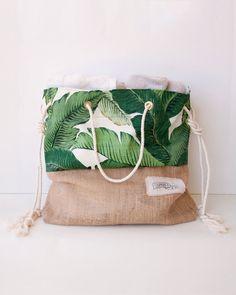 Green Banana Leaf Beach Bag Tropical Tote Palm by theAtlanticOcean