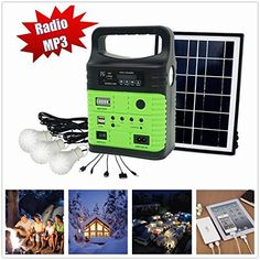 10Watt Solar Generator Portable kitPower InverterSolar Generator System for Home  Camping9000mAh Rechargeable Battery Pack UPS Power Supply Included 6 Watt Solar Panels ** Click for more Special Deals #SolarCharger