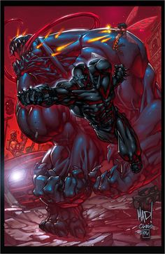 Black Panther vs Venom Art by Joe Madureira #Comics #Illustration #Drawing