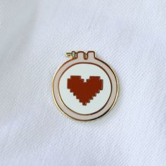 Cross Stitch Love Enamel Lapel Pin