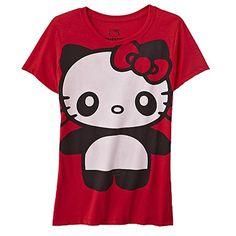 "Hello Kitty ""It's a Panda Thing"" Juniors T-Shirt Crew Neck Short Sleeves"