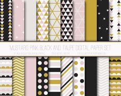 Papier numérique moderne, motif géométrique, fond Digital géométrique, papier Scrapbook, imprimable, Web Design, moutarde noire rose