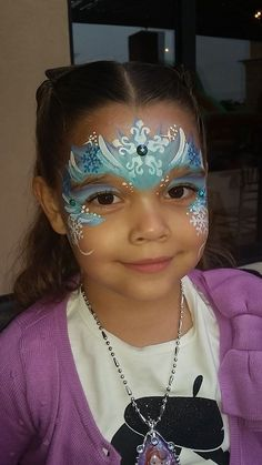 """Another very cute Elsa """"Frozen"""" design - www.sillyfarm.com Disney Face Painting, Face Painting Tips, Christmas Face Painting, Face Painting Designs, Painting For Kids, Body Painting, Elsa Frozen, Frozen Face Paint, Heart For Kids"""