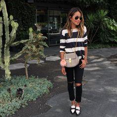Sicerely Jules - calça preta + blusa listrada!