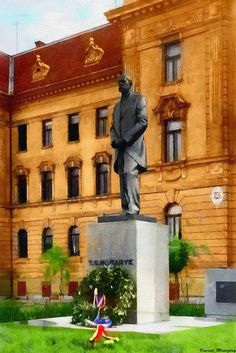 A statue of Mr. Masaryk | an eager advocate of Czechoslovak independence during World War I & became the founder and first President of Czechoslovakia