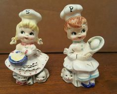 1950's NORCREST Boy & Girl Chef Salt & Pepper Shakers SET 1 of Many RARE Sets! (02/28/2016)