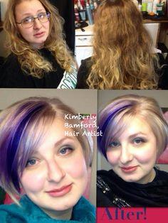 Makeover. Cut, bleach, tone and Vivids. What a beauty. vivids purplehair platinumhair haircolor olaplex beforeafter newburyport #newburyporthair