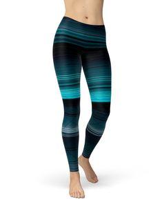 20d19a1ff7e0a5 Teal Workout Leggings | Black Striped Yoga Leggings for Women | Soft  Printed Leggings | Colorful Print Leggings | Boho Yoga Clothing | Ombre