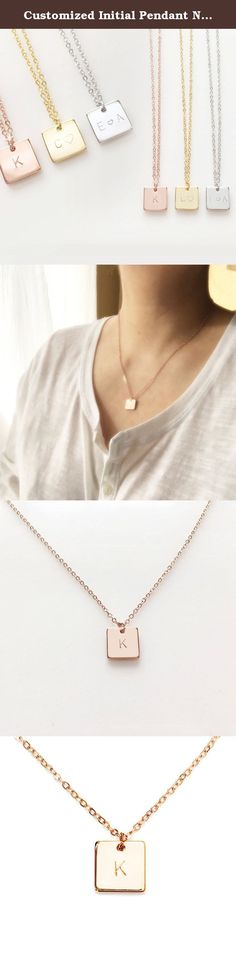 Customized Initial Pendant Necklace Simple Square Necklace in Gold Silver Rose Gold Perfect Gift (Rose Gold). Perfect for Bridesmaid gift, Graduation Gift This dainty piece features a thin rectangular plate that can be personalized with a name or nickname, initials, or a short message. Its simplicity gives it a classic elegance that compliments any style. Name plate necklaces also make great gifts for Mother's Day, Mom, Christmas, Bridesmaid gift, Valentines gift and weddings. Order one…