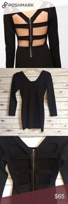 MinkPink black caged back body on dress Size medium. Exposed rear zipper. Ladder back. Stretch. Polyester, spandex. NWT  Fast 1-2 day shipping Reasonable offers accepted Purchase 3 or more items & get a special bundle rate!  Smoke-free home MINKPINK Dresses Mini