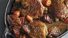 Wine-Braised Chicken with Shallots and Pancetta - Recipe - FineCooking In this modern take on coq au vin, Riesling subs for the usual red wine. Seafood Recipes, Chicken Recipes, Wine Recipes, Salad Recipes, Roast Rack Of Lamb, Carrot Slaw, Sandwiches, Fish Sandwich, Fast Food