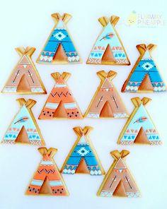 Teepee Cookies, Boho Cookies, Triabal Cookies, Tent Cookies.jpg