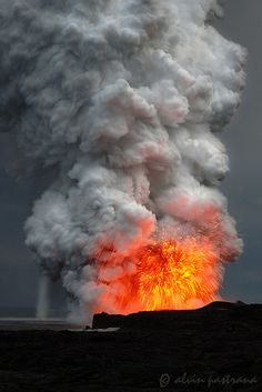 lavaburst ~ smoke plumes from an explosive ocean, Hawaii by alvin pastrana