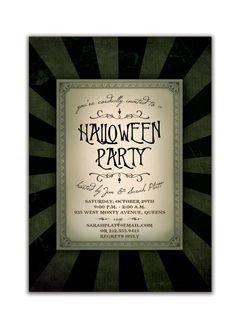 Gothic Halloween Invitation Dark Halloween Party Invitation Wicked Spooky Halloween DIY Digital or Printed - Platt Style. $20.00, via Etsy.