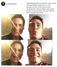 """Rob Lowe and Colton Haynes - Haynes played Lowe's son in the short-lived Fox series """"The Grinder."""""""