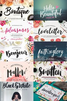 A big list of 49 brush script fonts you can use in your designs, some free.  #brush #script #font