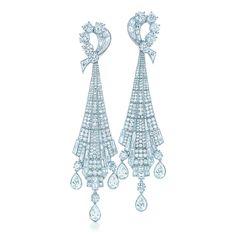 Art Deco drop earrings in platinum with diamonds.   Tiffany & Co.
