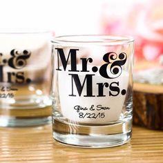 "Personalized ""Mr & Mrs"" Shot Glass Votive Holder"