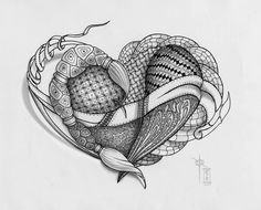 Zentangle Heart - WIP 3 - Light and Shadow by *rroxyann on deviantART Tangle Doodle, Doodles Zentangles, Zen Doodle, Heart Pictures, Pictures To Draw, Heart Pics, Doodle Patterns, Zentangle Patterns, Embroidery Patterns