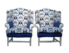 JULIA B'S PICK - Wing Chairs in Blue and White Blossoms - $6400.                             Oh baby!