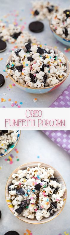 Oreo Funfetti Popcorn -- This dessert popcorn is also known as birthday cake popcorn or party popcorn. Packed with sprinkles and Birthday Cake Oreo Cookies, it's a quick and easy dessert perfect for bringing to parties! | wearenotmartha.com