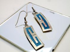 Vintage Mexican Turquoise Inlay Earrings by ALEXLITTLETHINGS