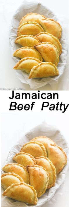 Jamaican Meat Pie Jamaican Beef Patty – Spicy flavorful beef stuffed in an amazing super easy buttery dough.Comes together quickly and flies off the table. Jamaican Meat Pies, Jamaican Beef Patties, Jamaican Patty, Jamaican Dishes, Jamaican Recipes, Beef Recipes, Cooking Recipes, Curry Recipes, Beef Tips