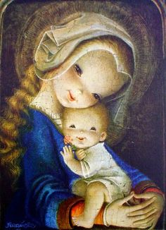 The Flower Virgin by Juan Ferrandiz Vintage Christmas Cards, Vintage Cards, Vintage Postcards, Mother Mary, Mother And Child, Christmas Nativity, Christmas Art, Madona, Some Beautiful Images