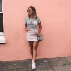 STYLING: Chinti and Parker T-Shirt, Topshop Pink Denim Skirt, Converse, Chloe Drew Bag (@hellooctober on Instagram)