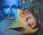 """""""Radha Krishna"""" painting is made by famous""""Saroj Meher"""" a famous Indian artist using """"Oil on Canvas"""" medium to create his paintings. His incredible artwork is available on online art gallery of vkartgallery for sale at a reasonable price.For more of his work log on www.vkartgallery...."""
