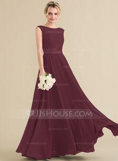 ba75be33b2c A-Line Princess Scoop Neck Floor-Length Chiffon Lace Bridesmaid Dress With  Bow(s) - Bridesmaid Dresses - JJsHouse