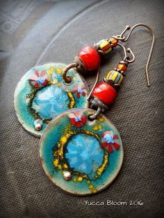 Enameled Copper Earrings,Copper Discs, Retro, African Beads, Copper Hoops, Earthy, Primitive, Organic, Rustic, Copper, Beaded Earrings by YuccaBloom on Etsy
