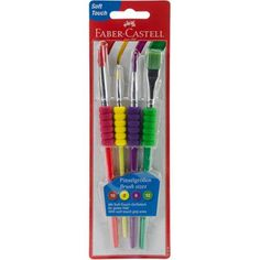 This set of paint brushes contains 4 paint brushes in sizes 10 and 12 one for every art project! They have soft grip zones which are comfortable for little hands and the brushes clean-up with soapy water.