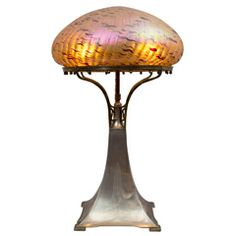 Shop Art Nouveau table lamps at the world's largest source of Art Nouveau and other authentic period furniture. Lampe Applique, Victorian Lamps, Art Nouveau Furniture, Art Deco Lamps, Brass Table Lamps, Tiffany Lamps, Vintage Chandelier, Glass Art, Lights