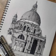 Architecture sketchbook, travel sketchbook, different art styles, drawing s Building Drawing, Building Sketch, Travel Sketchbook, Arte Sketchbook, Architecture Sketchbook, Islamic Architecture, Ipad Kunst, Art Sketches, Art Drawings