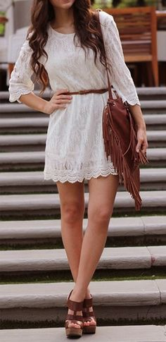 White dress with wavy hair