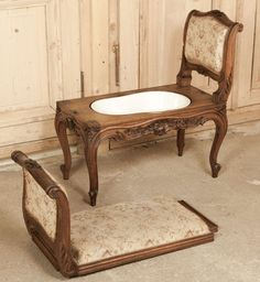 View this item and discover similar for sale at - Hand-crafted from fine French walnut, this Antique Louis XV Armbench cleverly conceals a concealed bidet inside! Bathroom Toilets, Bathrooms, Royal Throne, Rococo Furniture, Victorian Style Homes, Diy Mirror, Versailles, French Antiques, Boudoir