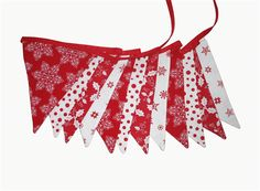 Christmas Red / White - Traditional Fabric Flag Bunting .