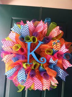 Summer Mesh Wreath/Chevron Monogrammed Wreath. Order yours today!