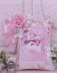 Whimsical Vintage Reindeer~Mrs Santa~Pink Rose~MINI HANGING PILLOW