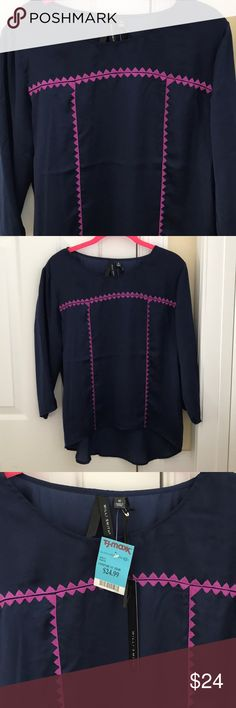 Ladies Willi Smith navy blouse size M NEW! Ladies Willi Smith blouse in navy and purple. Love love love this! Size M. Purchased from TJ Maxx. New with tags. 100% polyester, looks like silk. Very pretty! Back hem longer than front. Willi Smith Tops Blouses
