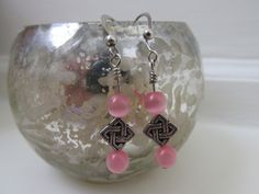 Dangle Earrings with Pink Tiger Eye Beads and Silver Metal Elements by AuntieJosCreations on Etsy