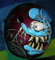 RAT FINK RED METAL FLAKE HELMET HAND PINSTRIPED KUSTOM ONE OF A KIND SCHERES