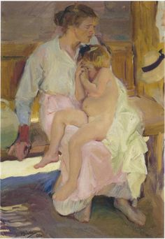 "Joaquin Sorolla y Bastida, ""Mother and Daughter - Valencia Beach,"" oil on canvas, Spanish Painters, Spanish Artists, Artist Painting, Figure Painting, Valencia Beach, Mother And Child, Famous Artists, Beautiful Paintings, Love Art"