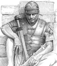 """Roman legionary, second half of the century AD. Ancient Egyptian Art, Ancient Rome, Ancient Greece, Ancient History, European History, Ancient Aliens, American History, Soldier Drawing, Warrior Drawing"