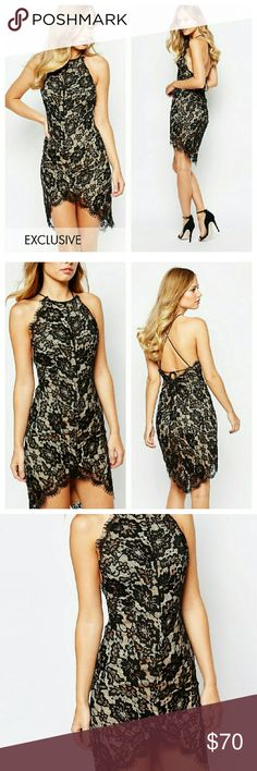 Asos Black Nude Lace Dress NWTs. Lace overlay. 95% poly 5% elastane. Purchased off Asos Asos Dresses